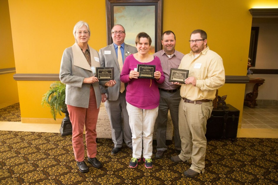 From left to right, Paula Zollman, Endocrine Laboratory; Matt Hanley, CMSL; Amy Olson; Norman (Ted) Ruest, Neuroimmunology Laboratory; and Patrick Ingvaldson, Neuroimunology Laboratory. Olson received the PossAbilities Explorer Award (2015 Employee of the Year), and she works in the test-tube-marking center that prepares test tubes for both Mayo laboratories.