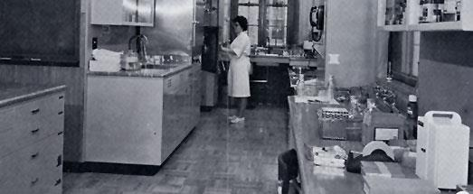 "Glassware preparation and general laboratory area of the Virology Laboratory. Technician Carol Schreiner is at autoclave which also opens at the opposite side into the ""sterile"" area."