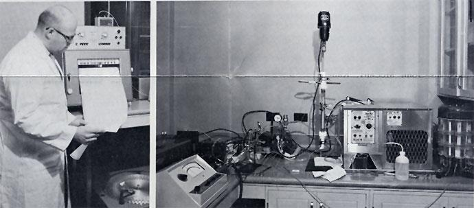 Left: Dr. Markowitz with automatic recording unit and fraction collector used in the fractionation apparatus in the Immunology Laboratory. Right: Part of the chromatographic apparatus used in the fractionation of Histoplasma capsulatum antigens.