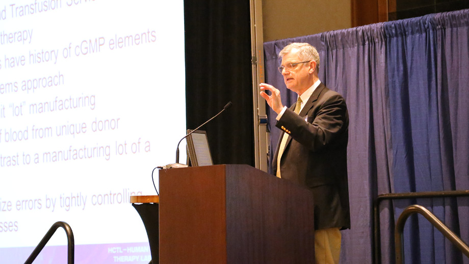 Dr. Dennis Gastineau, Medical Director of the Mayo Clinic Human Cellular Therapy Laboratory, presents on Wednesday of Transfuse 2016.