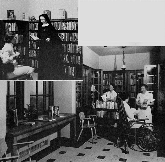 Hospital Librarian Ruth Tews and Sister Mary Brigh took pride in the new patients' library at St. Marys. Below, Mrs. Hazel Hagberg stocks her library cart and Mrs. Elna Ludden helps with book selection. Mrs. Iola Capelle, of the Clinic Library, plays the role of patient to demonstrate the library's function.