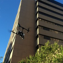 The drone outside of the Hilton Building, home of the majority of the subspecialty clinical laboratories at Mayo Clinic.