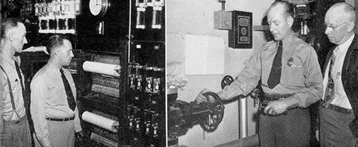 "They watch by night. At left, Mack Ravenhorst and Juel Berg check the chart recorder. Through electrical impulses, this chart records the ""punching"" of clocks located on the various floors, from basement to seventeenth floor. At right, Caryl Zeller and Otto Hubin, watchmen supervisor, check the automatic sprinkler system which protects a part of the building."