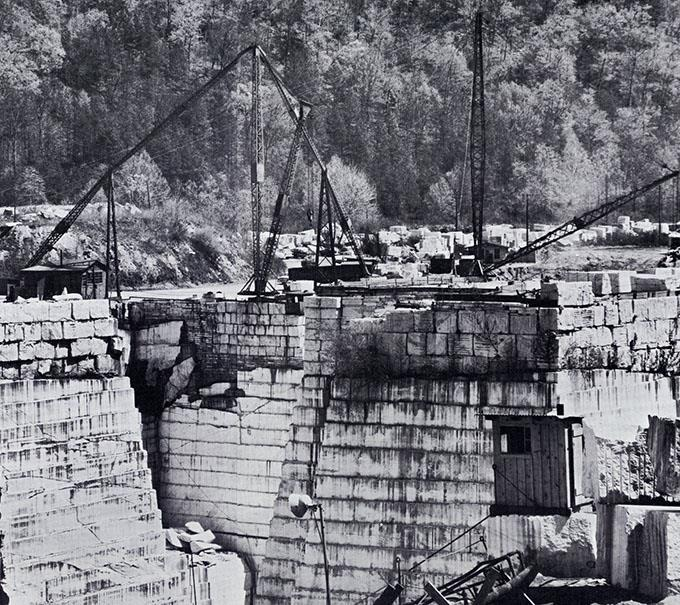 """In Long Swamp Valley they call it """"white gold."""" The Georgia Marble Company, which has been quarrying marble since 1884, claims there's enough left to last 30 centuries. It promises builders a perfect match for later additions, a fact of some importance in planning the Mayo Building addition."""