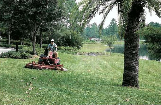 Head groundskeeper Rickie Firestine has her work cut out for her mowing Mayo Clinic Jacksonville's sumptuous lawns.