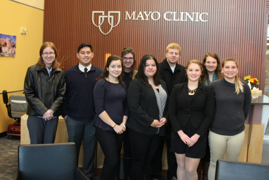 Nine science and business students from Saint Mary's received a tour of Mayo Medical Laboratories. Photo by Selena Bergstrom.