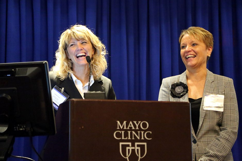 During the Q&A, Danelle Franzen and Lori Baumbach share a laugh with the audience.