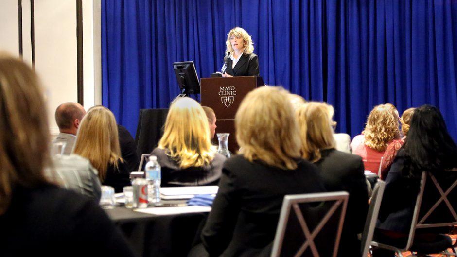 "Ms. Franzen presenting, ""Client Case Study: Community Engagement via Health Fairs."""