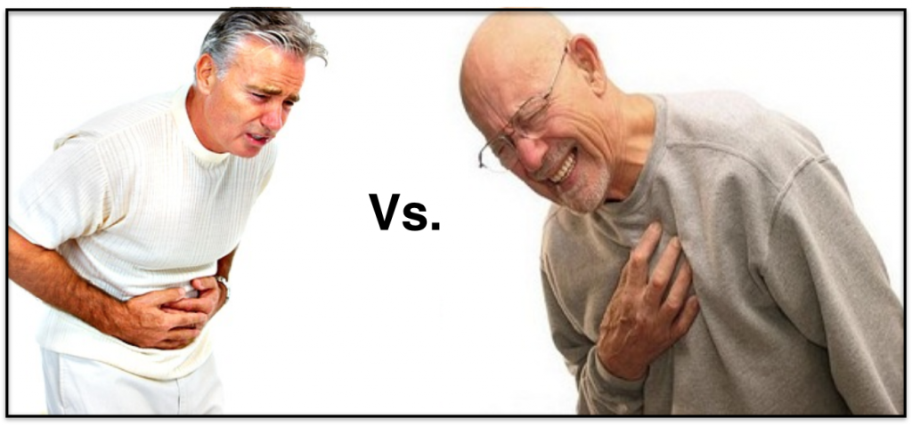 Chest pain vs abdominal pain