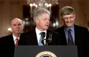 Francis Collins, M.D., Ph.D., now director of the NIH, (right) stands next to then-President Bill Clinton (J. Craig Ventner, Ph.D., left) at the announcement that an international consortuim had completed the first working draft; of the human genome on Juen 26, 2000. Three years later, Dr. Collins and others would announce the completion of the Human Genome Project. The White House characterized the scientific achievement as akin to splitting the atom and landing on the moon.