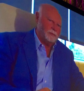 Dr. J. Craig Venter giving the closing keynote address via satellite.