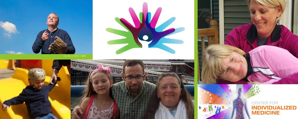 Top left, Dustin Bennett; far right, Eileen Braun and her daughter Kaitin, who has Angelman syndrome; center bottom, Stacy Carlson (right) and her family; bottom left, Javrie Burdell.  The Center for Individualized Medicine salutes and supports all who have a rare disease — every day of the year.