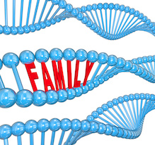 "Image of DNA with ""family"" written in it"