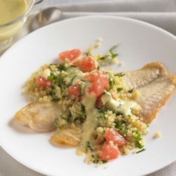 Sustainable tilapia with quinoa kale salad