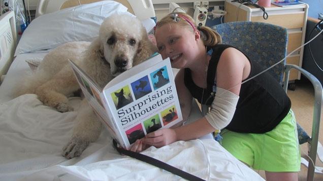 Pediatric patient Lexi reads to PAC dog Apollo.