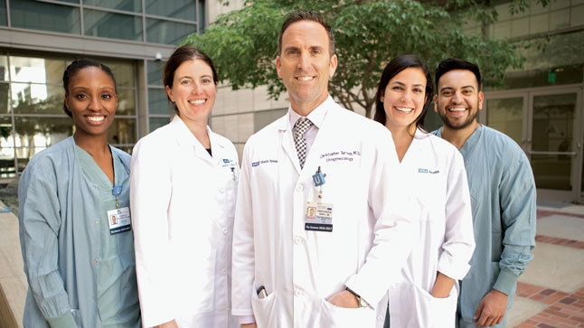 From left to right: Shantelle Williamson, Janine Oliver, MD, Christopher Tarnay, MD, Sheila Dejbakhsh, MD, and Sergio Castaneda.