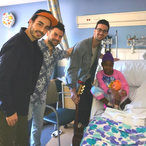 Band on tour with Justin Timberlake delights pediatric patients at UCLA