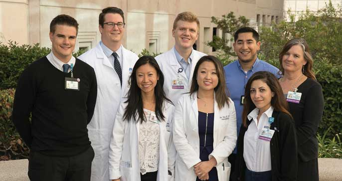 Back row, from left: Kevin Noel, William Carroll, MD, Andrew Weber, MD, Jesus Valdez and Darcie Miller; front row: Yihan Chen, MD, Sun Yoo, MD, and Varsenik Papazyan-Gutierrez.