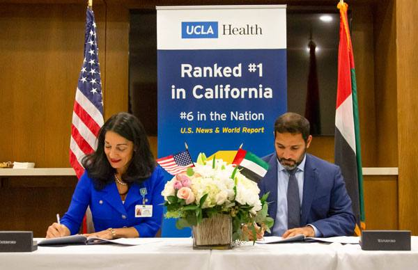 United Arab Emirates Undersecretary of the Department of Health H.E. Mohamed Al Hameli visited UCLA Health to sign an agreement with Johnese Spisso, president of UCLA Health and CEO of the UCLA Health Hospital System, formalizing a new referral relationship between the two institutions.