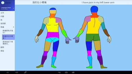 ipad app screen showing medical illustration of body