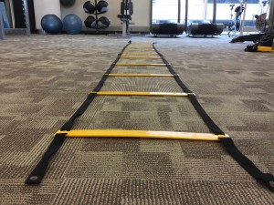 Speed ladders are available for DAHLC member use on the fitness floor.