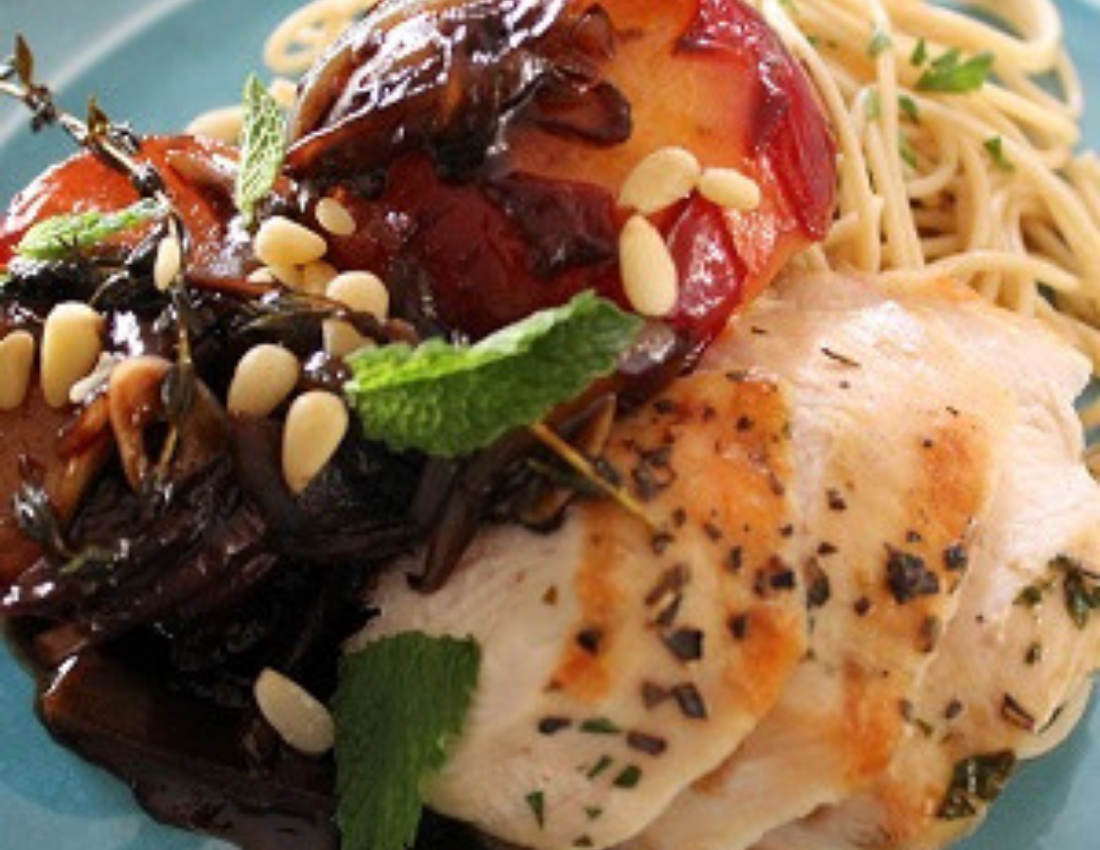 Balsamic Glazed Plums over Grilled Chicken, Mint and Pine Nuts