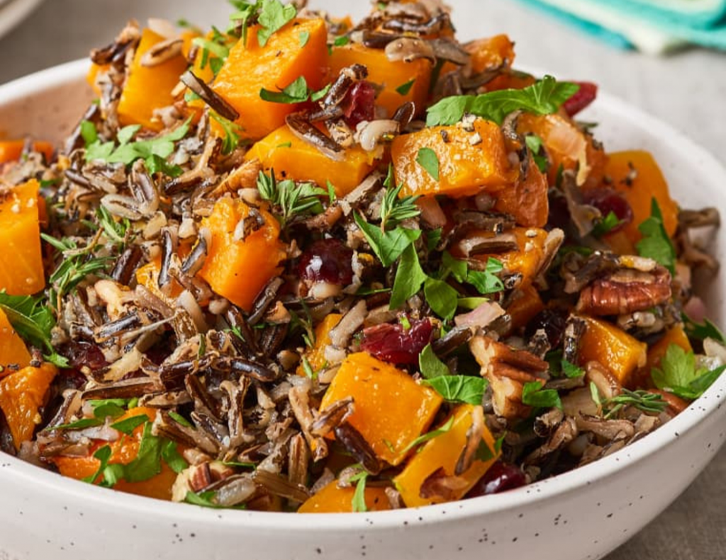 Roasted Squash with Wild Rice and Cranberry