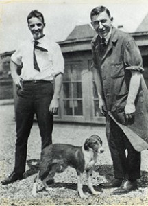 Frederick Banting, M.D. and Charles Best with one of their test dogs on the roof of the Medical Building at the University of Toronto, August 1921. Courtesy, Thomas Fisher Rare Book Library, University of Toronto.