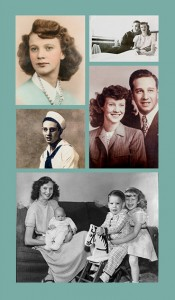 (Clockwise from upper left) Patricia Thomas, high school senior; Bob Stockdale visits Patricia while on leave from the Navy; the engagement photo; the family she hoped for - Debra, Steven, and Kathy; Bob Stockdale in uniform.
