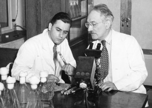 Albert Schatz and Selman Waksman, Ph.D., discoverers of streptomycin. (Courtesy, Rutgers University Archives)