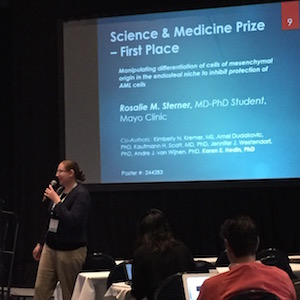 At the award announcements: First Place Science and Medicine Poster, Rosalie M. Sterner, M.D., Ph.D student.