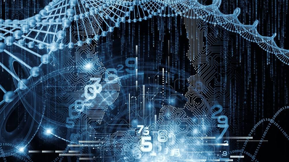 计算机电路板纹理,人体轮廓和未来派技术图像的组成