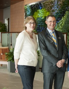 Stacy Erholtz with her physician, Stephen Russell, M.D., Ph.D.