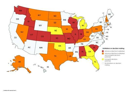 Map showing limitations on decision making by state.