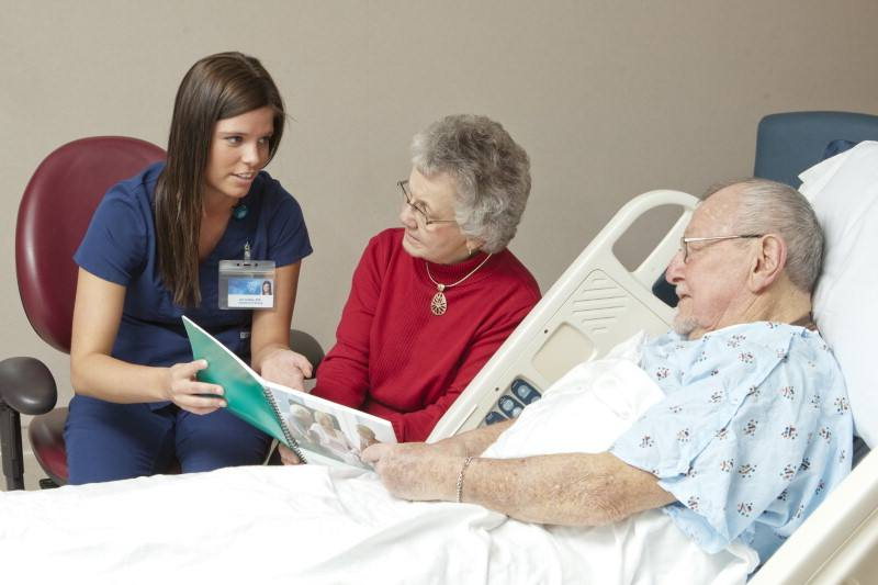A doctor discusses health care options with an elderly couple. The male patient lies in a hospital bed.