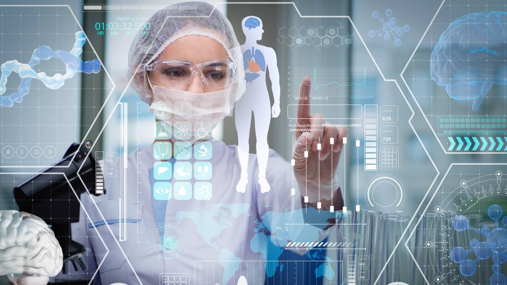 a hospital staff person wearing protective eye wear and a head cover, touching a futuristic medical concept of artificial intelligence images on transparent glass.