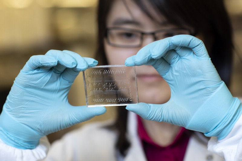 Dr. Liu is looking at a see-through rectangle with tiny circuitry running throughout, holding it in her gloved hands.