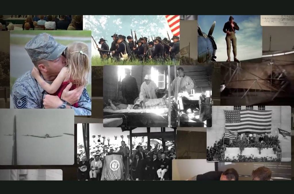 screenshot from Serving with Honor: Mayo Clinic and the Military - photo collage of military activities, events