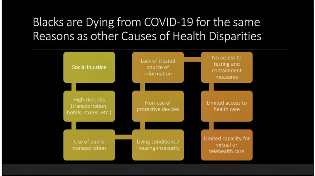 Graphic illustrating interrelated reasons why African Americans are dying from COVID-19
