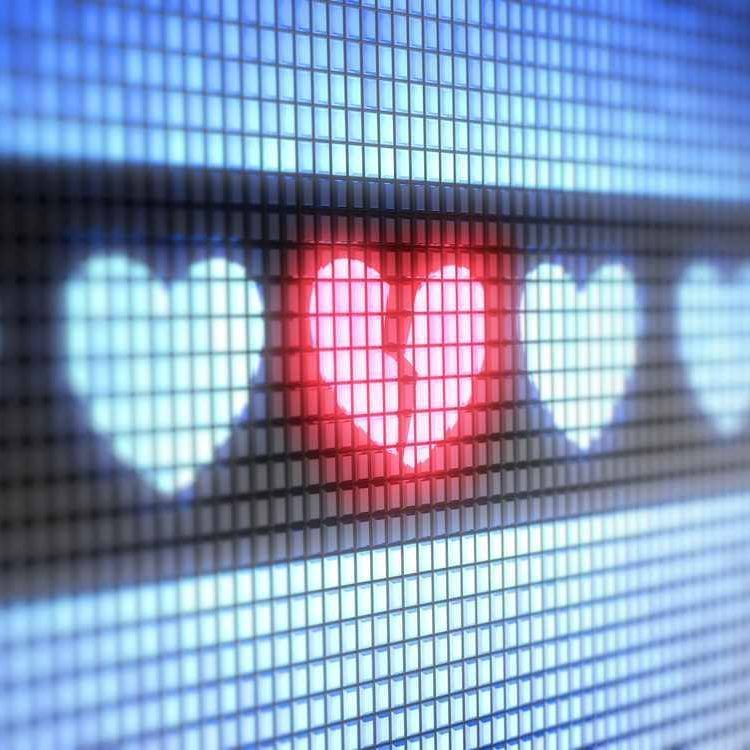 stock image of electronic lights in shape of hearts