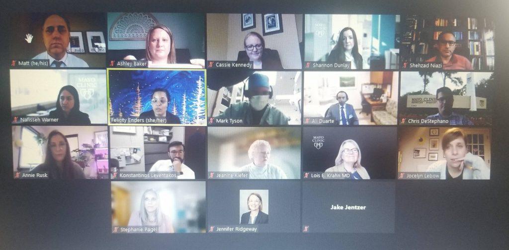 screenshot of several Kern Scholar program leaders, members, and alumni during Zoom retreat