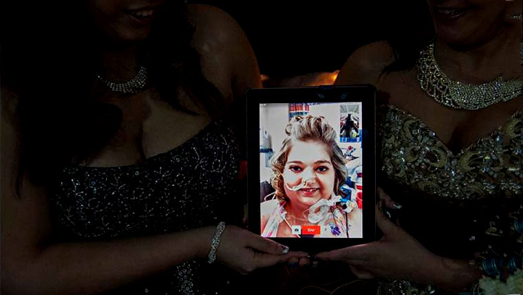 Bree Hanson is transported to her prom via FaceTime on an iPad