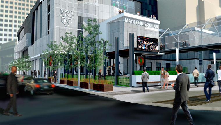 Rendering of proposed Mayo Clinic Square facility in Minneapolis