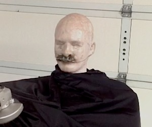 Mannequin with facial hair prepared for testing.