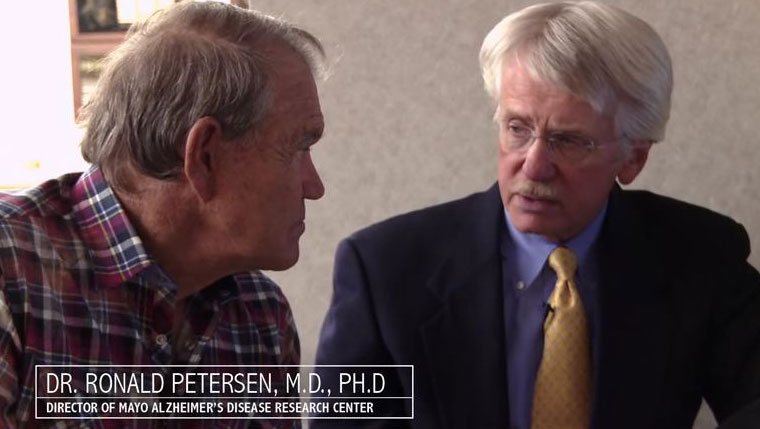 "Glen Campbell and Ronald Petersen, M.D., in the movie ""Glen Campbell: I'l Be Me."""