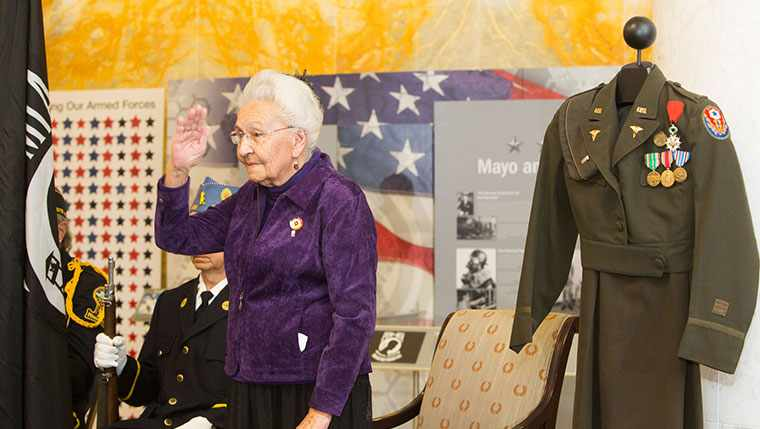 Marcella LeBeau, World War II veteran saluting