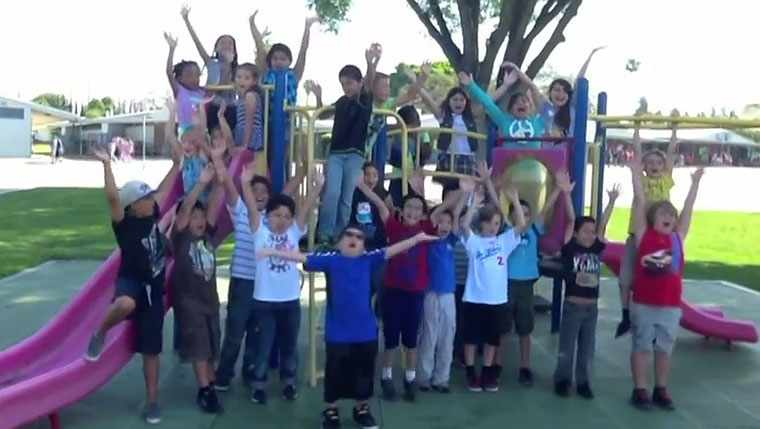 Large group of children on a playground