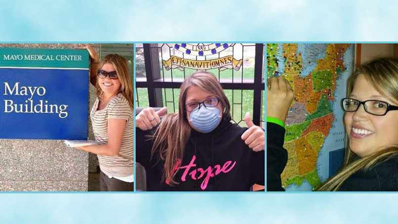 Image collage of transplant patient Courtney Kidd
