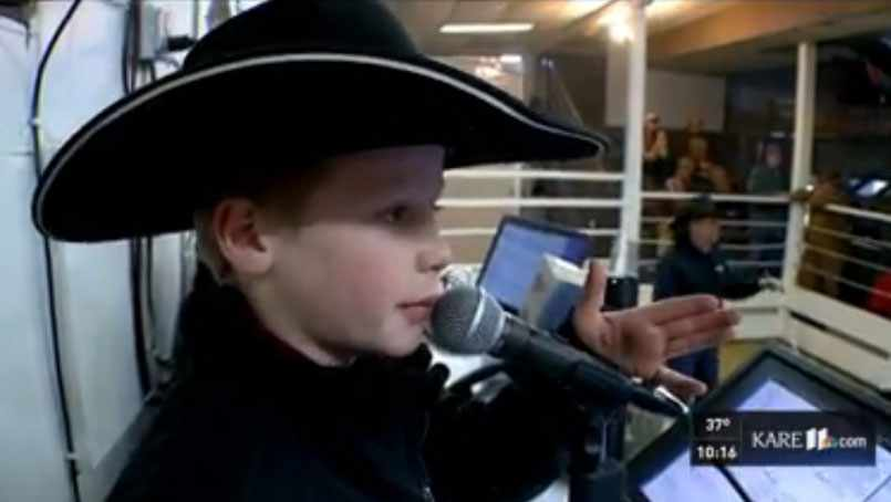 Cash Owen, age 10, doing work as an auctioneer.