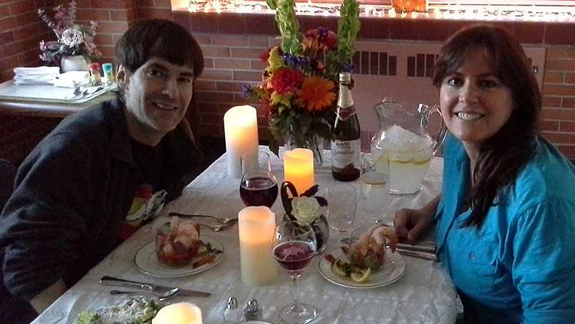 Randy Marlow enjoyed a candlelight dinner with his girlfriend, Lisa Black, during his wait for a transplant.
